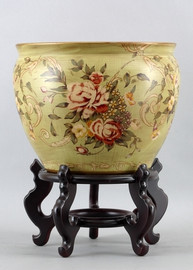 Coming up Roses Pattern - Luxury Hand Painted Porcelain - 16 Inch Fish Bowl, Planter
