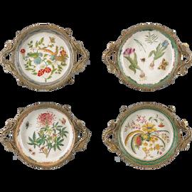 Coasters, Group V - Luxury Hand Painted Porcelain and Gilt Bronze Ormolu - Set of Four
