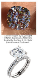 Benzgem by GuyDesign® Luxury 03.10 Carat Square Cushion Imitation Diamond with g+ VS Diamond Semi-Mount, Contemporary Elegance Wedding Set size 4.5, 14k, 10178