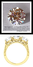 Benzgem by GuyDesign® Luxury 03.06 Carats H&A Signature Imitation Diamonds with g+ VS Diamond Semi-Mount, 3 Stone Ring, 14k Gold, 10182