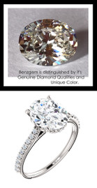 2.66 Benzgem by GuyDesign®, Luxury, Diamond Quality 2.66 Carat Oval Shape, Alternative Solitaire, Mined diamond Semi-Mount, Louis XIV Baroque Scroll, Bespoke 14 karat Engagement Ring, 10183