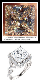 3.81 Carat Believable and Realistic Simulated Diamond Princess Cut Benzgem matches Convincingly the Natural Diamond Semi-Mount; GuyDesign Halo Engagement or Right-Hand Ring - 14k White Gold, 10185,