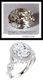 2.66 Carat Believable and Realistic Simulated Diamond Oval Cut Benzgem matches Convincingly the Natural Diamond Semi-Mount; GuyDesign Halo Engagement or Right-Hand Ring - 14k White Gold, 10188,