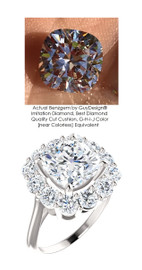 Diana Style 14 Karat White Gold Right Hand Ring by GuyDesign®, Always Believable Benzgem Imitation 3 Carat and .21 Point G-H-I-J Color Cushion Cut Solitaire plus 1.80 Carat Semi-Mount, 7099