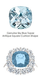 9 x 9 Cushion Cut Mined 9 x 9 Sky Blue Checkerboard Crown Topaz and Benzgem by GuyDesign® 01.56 Carats of Best Round Diamond Simulants, Diana Princess of Wales Ring, 14k White Gold, 7100