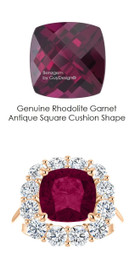 9 x 9 Cushion Cut Mined 9 x 9 Rhodolite Checkerboard Crown Garnet and Benzgem by GuyDesign® 01.56 Carats of Best Round Diamond Simulants, Diana Princess of Wales Ring, 14k Rose Gold, 7101