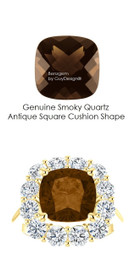 9 x 9 Antique Square Mined 9 x 9 Checkerboard Crown Smoky Quartz and Benzgem by GuyDesign® 01.56 Carats of Best Round Diamond Simulants, Diana Princess of Wales Ring, 14k Yellow Gold, 7102