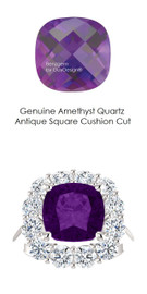 9 x 9 Antique Square Mined 9 x 9 Checkerboard Crown Amethyst Quartz and Benzgem by GuyDesign® 01.56 Carats of Best Round Diamond Simulants, Diana Princess of Wales Ring, 14k White Gold, 7103