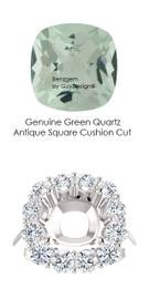 9 x 9 Antique Square Mined 9 x 9 Checkerboard Crown Green Quartz and Benzgem by GuyDesign® 01.56 Carats of Best Round Diamond Simulants, Diana Princess of Wales Ring, 14k White Gold, 7104