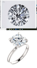Custom GuyDesign®, 4 Carat HPHT Lab-Grown Carbon Diamond, D Color, SI1 Clarity, Round Shape Excellent Cut, Modern Tiffany, Completely Bespoke, Platinum Engagement Ring, 10194