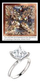 3.81 Best Alternative Diamond, Benzgem by GuyDesign®, G-H-I-J Diamond Quality 3.81 Carat Quadrillion Princess Cut, Modern Tiffany, Completely Bespoke Platinum Engagement Ring, 10195