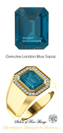 10 x 8 GuyDesign® Men's Ideal Ring for Gemstones, London Blue Emerald Shape Topaz, Natural CanadaMark Conflict Free F+ Color and VS Clarity Mined Diamonds, 18 Karat Yellow Gold Ring, 10197