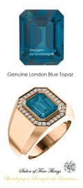 10 x 8 GuyDesign® Men's Ideal Ring for Gemstones, London Blue Emerald Shape Topaz, Hearts & Arrows F+ Color and VS Clarity Mined Diamonds, 18 Karat Rose Gold Ring, 10198