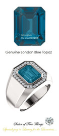 10 x 8 GuyDesign® Men's Ideal Ring for Gemstones, London Blue Emerald Shape Topaz, Hearts & Arrows F+ Color and VS Clarity Mined Diamonds, Bespoke 1.35 oz. Platinum Ring, 10199