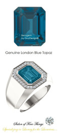 10 x 8 GuyDesign® Men's Ideal Ring for Gemstones, London Blue Emerald Shape Topaz, Hearts & Arrows F+ Color and VS Clarity Mined Diamonds, Bespoke Sterling Silver Pinky Ring, 10200