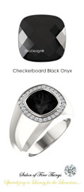 #10 x 10 GuyDesign® Men's Ideal Ring for Gemstones, Checkerboard Cushion Shape Black Onyx, CanadaMark Conflict Free F+ Color and VS Clarity Mined Diamonds, Bespoke Sterling Silver Pinky Ring, 10201
