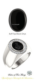 #10 x 8 GuyDesign® Men's Ideal Ring for Gemstones, Buff Top Oval Black Onyx, Natural CanadaMark Conflict Free F+ Color and VS Clarity Mined Diamonds, Bespoke Sterling Silver Pinky Ring, 10203