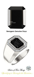 #10 x 8 GuyDesign® Men's Ideal Ring for Gemstones, Emerald-Cut Black Onyx, Natural CanadaMark Conflict Free F+ Color and VS Clarity Mined Diamonds, Bespoke Sterling Silver Pinky Ring, 10205