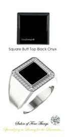 10 x 10 GuyDesign® Men's Ideal Ring for Gemstones, Square Buff Top Black Onyx, Hearts & Arrows F+ Color and VS Clarity Mined Diamonds, Bespoke Sterling Silver Pinky Ring, 10206