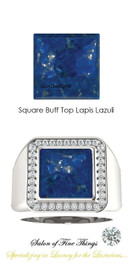 10 x 10 GuyDesign® Men's Ideal Ring for Gemstones, Square Buff Top Lapis Lazuli, Natural CanadaMark Conflict Free F+ Color and VS Clarity Mined Diamonds, Bespoke Sterling Silver Pinky Ring, 10207