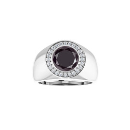 #1.00 Ct. Opaque Color Enhanced Round-Cut Black Diamond, CanadaMark Conflict Free F+ Color and VS Clarity Mined Diamonds, Bespoke Sterling Silver Pinky Ring, GuyDesign® Men's Ideal Ring for Diamonds, 10208.9855.9