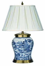 Porcelain Tabletop Lamp with Shantung Silk Shade - Classic Blue and White Pattern - 28t