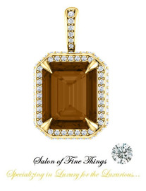 Emerald Cut Smoky Quartz featured on a GuyDesign® Ladies Pendant, DG868937.91020000.398687