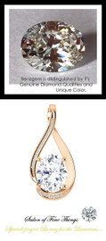 2.66 Ct. Hand Cut Oval Benzgem: Best G-H-I-J Diamond Quality Color Imitation; GuyDesign® Mined Diamond Encrusted Pendant Necklace: DG864191.91020000.914681