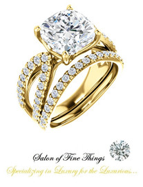 A GuyDesign®, Ladies Engagement, Right Hand, or Wedding Set DG1237487.91020000.8473217 Shown with a 3.21 Carat Cushion Cut Benzgem