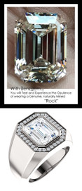 5.50 Carat G-H-I-J Color Range Emerald-Cut Diamond Solitaire Alternative with CanadaMark Conflict Free F+ Color and VS Clarity Mined Diamonds, 1.53 oz. Platinum Pinky Ring, GuyDesign® Men's Ideal Ring for Diamonds, 10217.9855.9