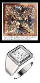 3.81 Carat G-H-I-J Color Range Square-Cut Diamond Solitaire Alternative with CanadaMark Conflict Free F+ Color and VS Clarity Mined Diamonds, 1.515 oz. Platinum Pinky Ring, GuyDesign® Men's Ideal Ring for Diamonds, 10218.9855.9