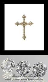 GuyDesign® Gold and Diamond Bespoke Cross Pendant, Necklace, .88 Carat, 32 F+ Color, VS Clarity Hearts & Arrows Mined Diamonds, 14 Karat White Gold 10219