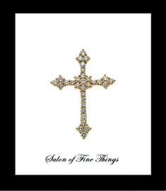 GuyDesign® Gold and Swarovski™ Commercial Colorless with a bluish glow Cubic Zirconia, Bespoke Cross Pendant, Necklace, .88 Diamond Equivalent Carats, 14 Karat White Gold 10220