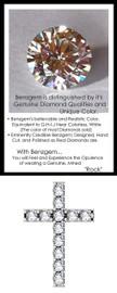 GuyDesign® Bespoke Cross Pendant, Necklace with 3 Carats of Benzgem Brand G-H-I-J Color Range Hearts & Arrows Diamond Alternative, 14k White Gold, 10221