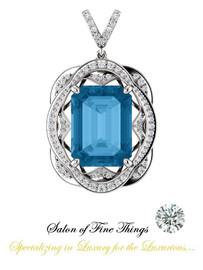 16 x 12 mm Emerald Cut Swiss Blue Topaz measures .63 x .47 inches, GuyDesign®, Opulent Platinum Pendant Necklace DG121689.91020000.86121.9