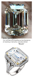 14.22 Prince of Wales Halo Ring by GuyDesign® G-H Color, 14.22 Ct., Emerald Cut Best Quality Benzgem Diamond Copy, Type IIa Colorless Swarovski CZ Semi-Mount, 14K White Gold Jewelry 10223