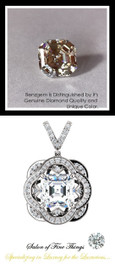 4.50 Carat Royal Asscher Cut Benzgem Diamond Alternative, Believable and Realistic G-H-I-J Near Colorless White, GuyDesign® Opulent Platinum Pendant Necklace DG121689.91020000.86121.9