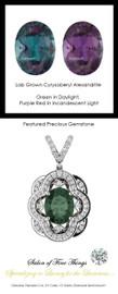 3.35 Ct. Lab-Grown Chrysoberyl Alexandrite, Set with Precision Cut, G+, VS Mined Diamonds, GuyDesign®, Opulent 14 karat White Gold Pendant Necklace DG121689.91020000.86121.9