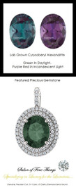 6.40 GuyDesign®, Opulent Platinum Pendant Necklace DG628683.91020000.86826, 6.40 Carat. Lab-Grown Chrysoberyl Alexandrite, Set with Precision Cut, G+, VS Mined Diamonds