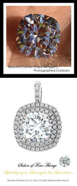 GuyDesign®, Opulent Platinum Pendant Necklace DG628683.91020000.86826, 3.20 Carat Cushion Cut Benzgem, Set with Precision Cut, G+, VS Mined Diamonds