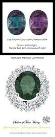 Princess Diana Ring/Hearts and Arrows Diamond/Natural F+, VS 2.40 Carat Diamond Semi-Mount/6.40 Carat Oval Cut Chatham Chrysoberyl Alexandrite/Opulent Ring Designed by GuyDesign®/Platinum Ring/10283
