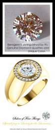 1.91 Carat G-H-I-J Color Range Diamond Round-Cut Solitaire Alternative with CanadaMark Conflict Free F+ Color and VS Clarity Mined Diamonds, 18 Karat Yellow Gold Pinky Ring, GuyDesign® Men's Ideal Ring for Diamonds, 10288.9855.9
