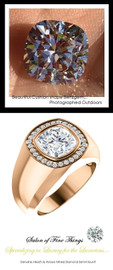 3.21 Carat G-H-I-J Color Range Diamond Solitaire Alternative with Hearts & Arrows F+ Color and VS Clarity Mined Diamonds, 18 Karat Rose Gold Pinky Ring, GuyDesign® Men's Ideal Ring for Diamonds, 10289.9855.9