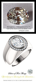 2.66 Carat G-H-I-J Color Range Oval-Cut Diamond Solitaire Alternative with Precise Cut G+ Color and VS Clarity Mined Diamonds, 1.19 oz. Platinum Ring, GuyDesign® Men's Ideal Ring for Diamonds, 10290.9855.9