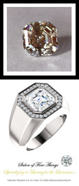 4.50 Carat G-H-I-J Color Range Asscher-Cut Diamond Solitaire Alternative with Precise Cut G+ Color and VS Clarity Mined Diamonds, 1.43 oz. Platinum Ring, GuyDesign® Men's Ideal Ring for Diamonds, 10292.9855.9