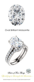 An Eternity Engagement Ring, 4 Carat Brilliant Oval Moissanite Imitation Diamond, DEF Color with .80 cts. Precise Cut G+ Color and VS Clarity Mined Diamonds, Platinum Ring, GuyDesign® Bridal, 10298.639321.6