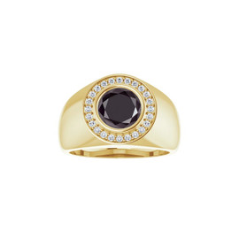 #2.00 Ct. Black Round-Cut Diamond with Precise Cut G+ Color and VS Clarity Mined Diamonds, 18 Karat Yellow Gold Ring, GuyDesign® Men's Ideal Ring for Diamonds, 10348.9855.9