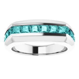 10350 Platinum Teal Blue Square-Cut 2.3 Ct. Diamond Men's Band Ring