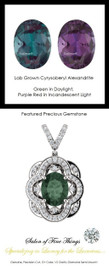 3.35 10351 GuyDesign®, Opulent 14 karat White Gold Pendant Necklace DG121689.91020000.86121.9, 3.35 Carat. Lab-Grown Chrysoberyl Alexandrite, Set with Precision Cut, G+, VS Mined Diamonds