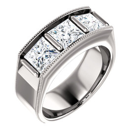 10353dg Interface, Men's 3 Stone Square-Cut 14k White Gold, Band Style ring by GuyDesign® 10353